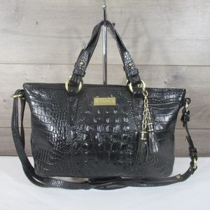 Brahmin Black Croc Embossed Leather Satchel Should